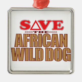 African Dog Save Christmas Ornament