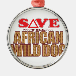 African Dog Save Silver-Colored Round Decoration
