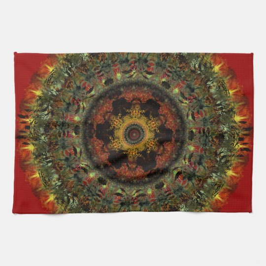 African Dusk Mandala Kitchen Tea towel (red)