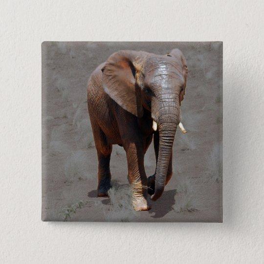 African elephant 15 cm square badge