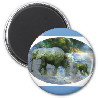 African Elephant 6 Cm Round Magnet