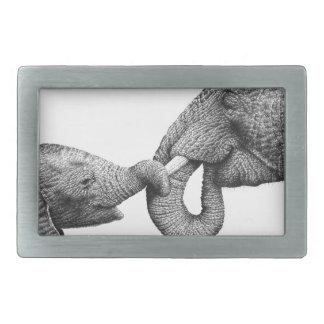 African Elephant and Calf Belt Buckle