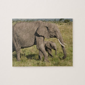 African Elephant and cub (Loxodonta africana), Jigsaw Puzzle