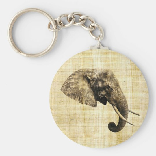 African elephant basic round button key ring