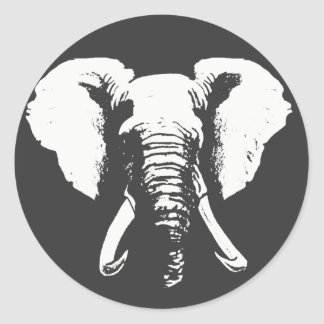 African Elephant Classic Round Sticker