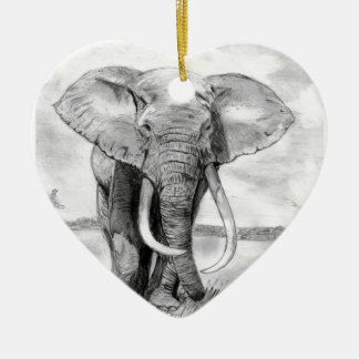 african elephant drawing in pencil design ceramic heart decoration