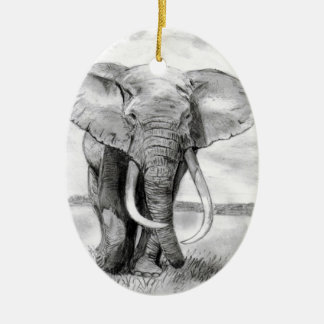 african elephant drawing in pencil design ceramic oval decoration