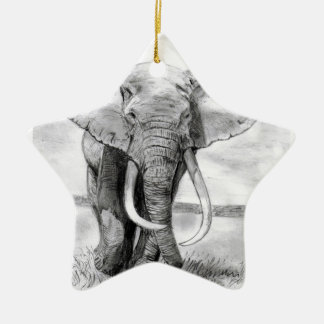 african elephant drawing in pencil design ceramic star decoration