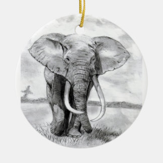 african elephant drawing in pencil design round ceramic decoration