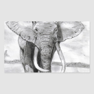 african elephant drawing in pencil design sticker