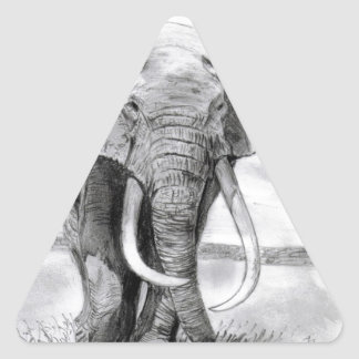 african elephant drawing in pencil design triangle sticker