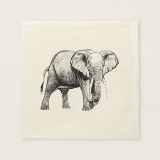 African elephant drawing paper napkin