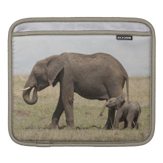 African Elephant mother with baby walking iPad Sleeves
