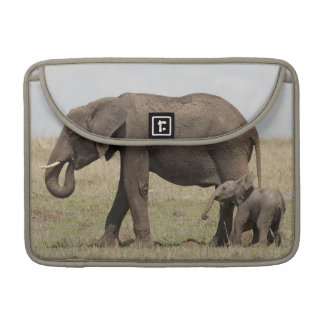 African Elephant mother with baby walking Sleeve For MacBook Pro
