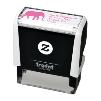 African Elephant Silhouette Return Address Self-inking Stamp