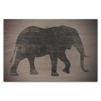 African Elephant Silhouette Rustic Style Tissue Paper