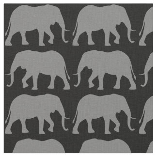 African Elephant Silhouettes Pattern Fabric