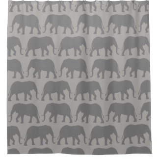 African Elephant Silhouettes Pattern Shower Curtain