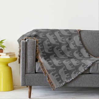 African Elephant Silhouettes Pattern Throw Blanket