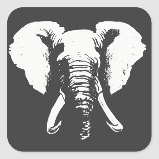 African Elephant Square Sticker