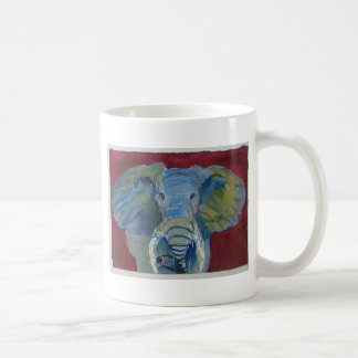 African Elephant via watercolor aceo animal art Basic White Mug