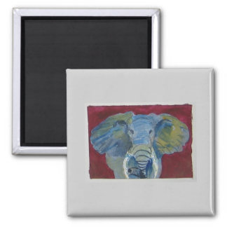 African Elephant via watercolor aceo animal art Square Magnet