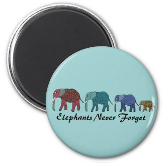 African Elephant Walk 6 Cm Round Magnet