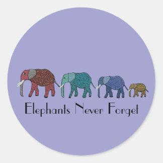 African Elephant Walk Classic Round Sticker