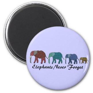 African Elephant Walk 6 Cm Round Magnet
