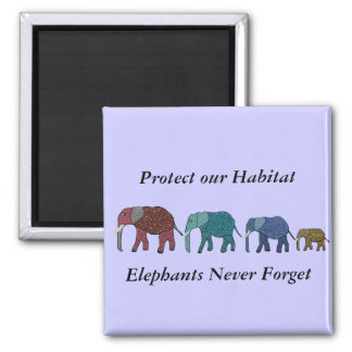 African Elephant Walk Square Magnet