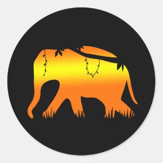 African Elephant Walking at Dawn Round Sticker