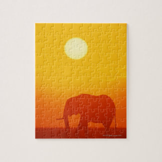 African elephant walking at sunset , Kenya , Jigsaw Puzzle