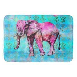 African Elephant Watercolor Pink Blue Trendy Bath Mat