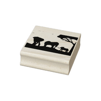 African Elephants at Sunset Rubber Stamp