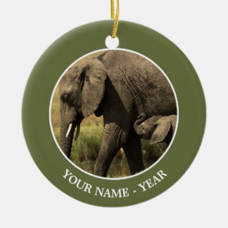 African Elephants at water pool Christmas Ornament