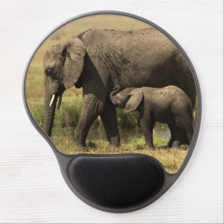 African Elephants at water pool Gel Mouse Pad