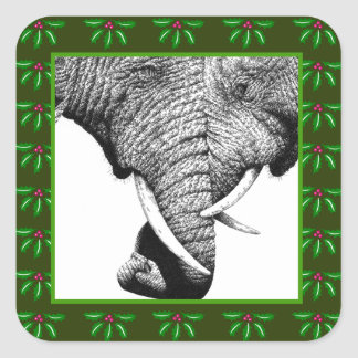 African Elephants Holly Leaf Christmas Sticker