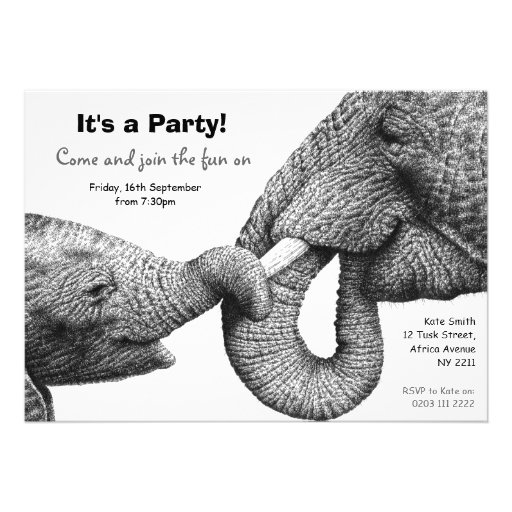 African Elephants Party Invitation