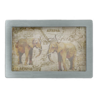African Elephants Rectangular Belt Buckles