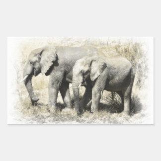 African Elephants Rectangular Sticker