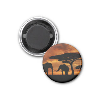 African elephants silhouettes in sunset 3 cm round magnet