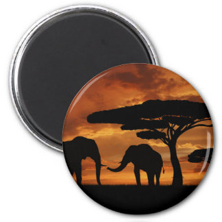 African elephants silhouettes in sunset 6 cm round magnet