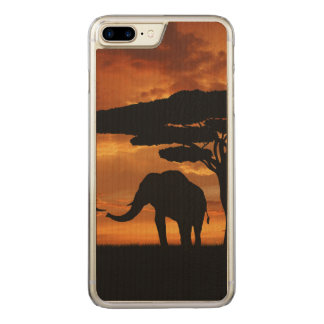 African elephants silhouettes in sunset carved iPhone 8 plus/7 plus case