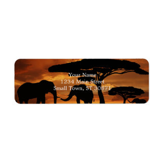 African elephants silhouettes in sunset return address label