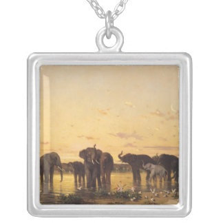 African Elephants Silver Plated Necklace