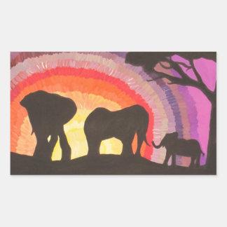 African Elephants @ Sunset (Kimberly Turnbull Art) Rectangular Sticker