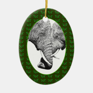 African Elephants Trunks Entwined Xmas Ornament