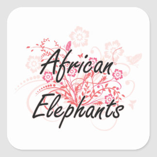 African Elephants with flowers background Square Sticker