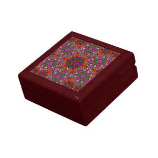 African ethnic kaleidoscope red green purple keepsake boxes