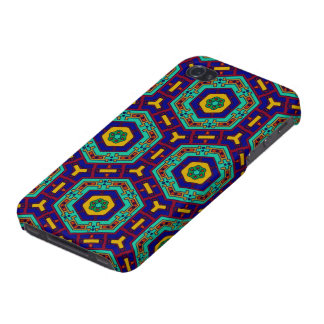 African ethnic mosaic warm colors blue green iPhone 4/4S case